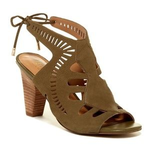 franco sarto // olive green cutout leather sandals